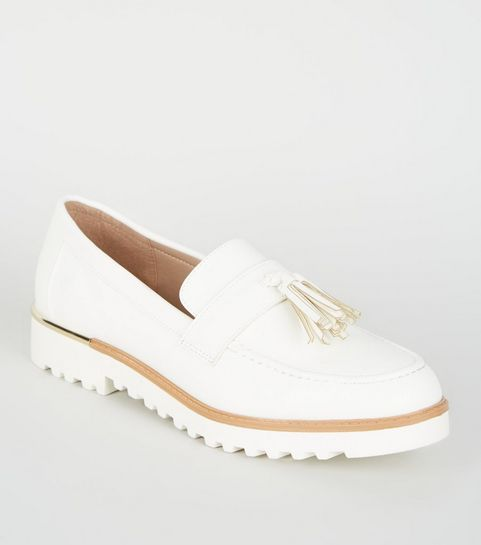7e21f3502f31d ... Off White Leather-Look Chunky Tassel Loafers ...
