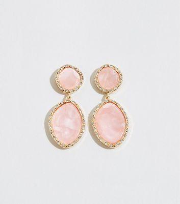 Pale Pink Resin Drop Earrings by New Look