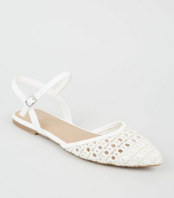 White Leather-Look Woven Sandals