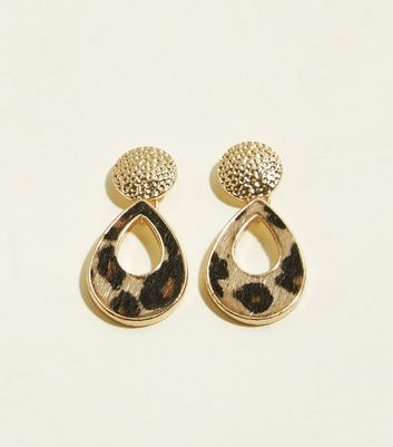 Gold Leopard Print Teardrop Earrings