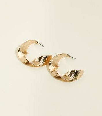 Gold Hammered Twist Hoop Earrings