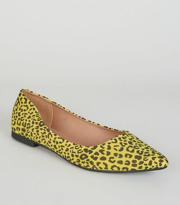 Yellow Neon Leopard Print Pointed Ballet Pumps