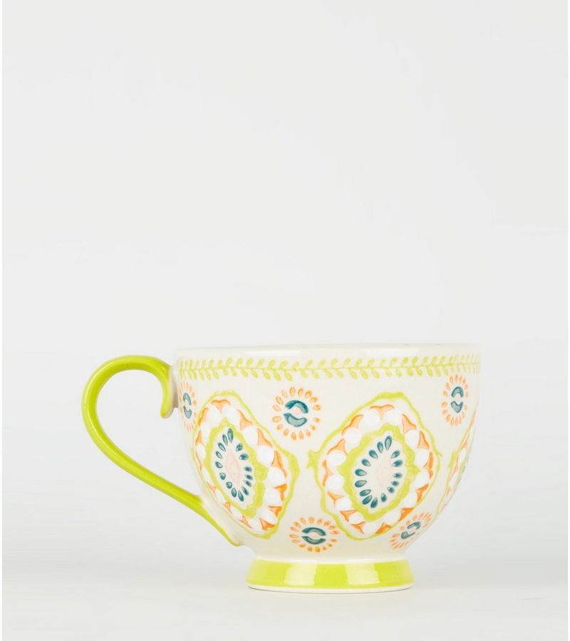 New Look - orange tile print wide mug - 2