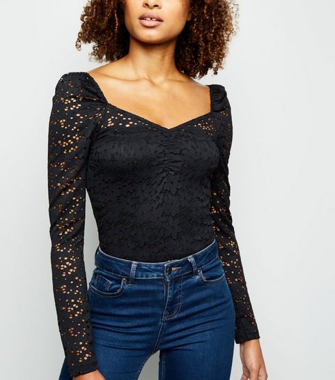 da586695117 ... Black Lace Sweetheart Neck Top ...