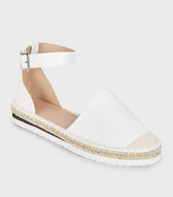 White Leather-Look 2 Part Espadrilles