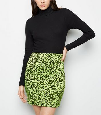 Green Neon Leopard Print Tube Skirt