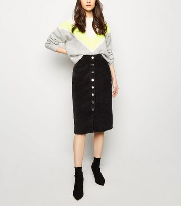 2a4622952a Shoptagr | Black Corduroy Button Front Midi Pencil Skirt by New Look