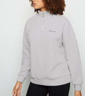 Pale Grey Paris Slogan Borg Half Zip Sweatshirt