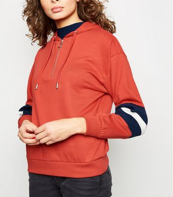 Red Ribbed Stripe Sleeve Zip Neck Hoodie