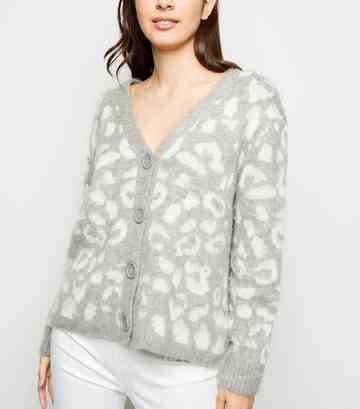 Light Grey Leopard Pattern Button Up Cardigan