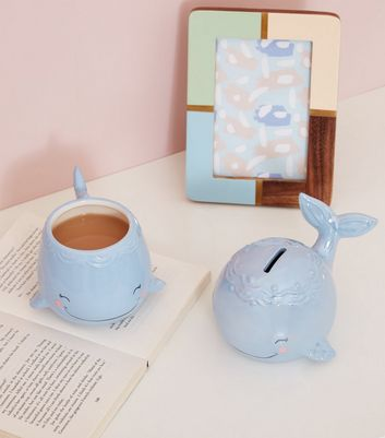 Pale Blue Smiley Whale Mug