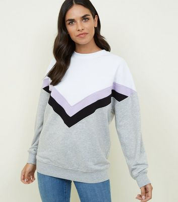 Lilac Chevron Colour Block Sweatshirt