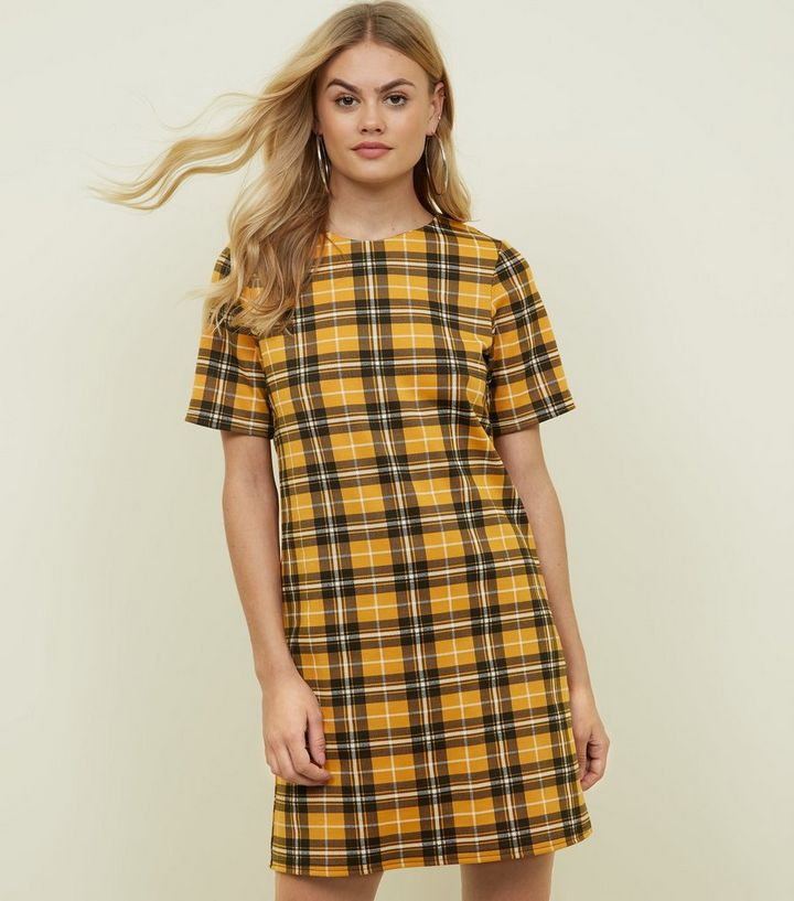 cd43e3cb8ef Yellow Check Tunic Dress