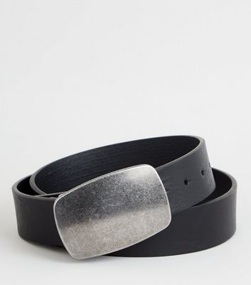 Black Oversized Plated Buckle Belt