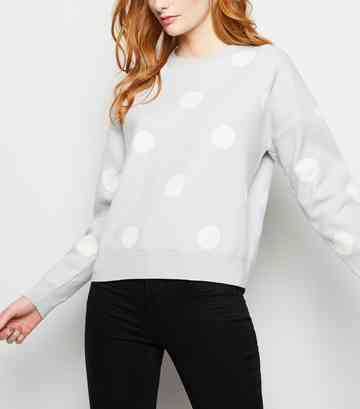 Pale Blue Spot Print Jumper