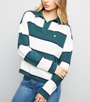 Green Stripe Heart Logo Rugby Top