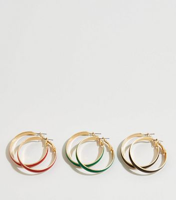 3 Pack Multicoloured Enamel Hoop Earrings