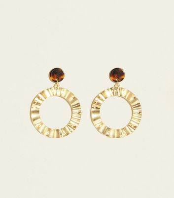 Brown Beaten Gold and Resin Earrings
