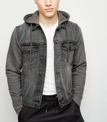 Dark Grey Jersey Sleeve Denim Jacket