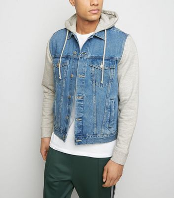 Bright Blue Jersey Sleeve Denim Jacket