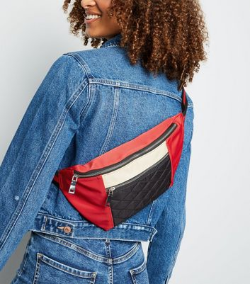 Red Quilted Oversized Bum Bag