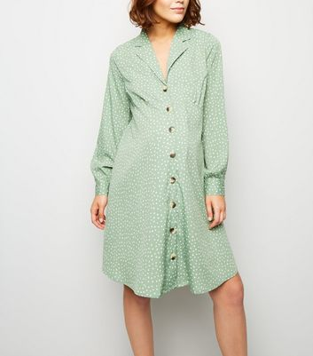 Maternity Green Spot Button Up Collared Dress