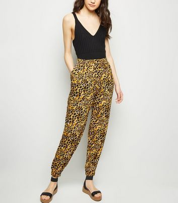 Yellow Leopard Print Joggers