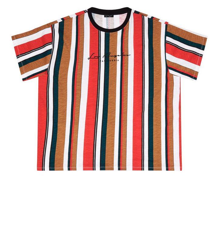dd42b20c Plus Size Red Striped Los Angeles Slogan T-Shirt | New Look