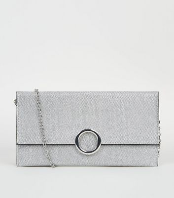 Silver Glitter Ring Front Clutch
