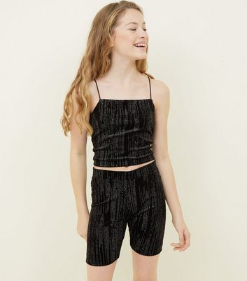 Girls Black Glitter Stripe Velvet Cami