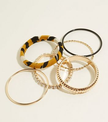 Dark Grey Leopard Print and Gold Bangles