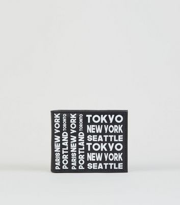 Black Leather-Look City Print Wallet