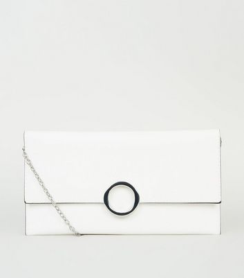 White Leather-Look Ring Front Clutch