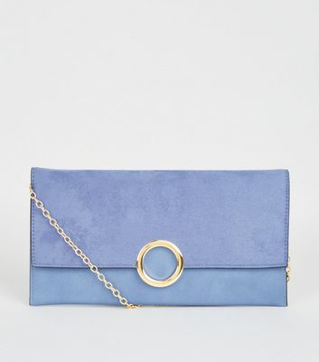 Pale Blue Leather-Look Ring Front Clutch