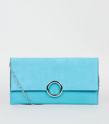 Turquoise Leather-Look Ring Front Clutch
