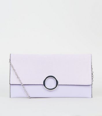 Lilafarbene Clutch in Leder-Optik mit Ring vorne