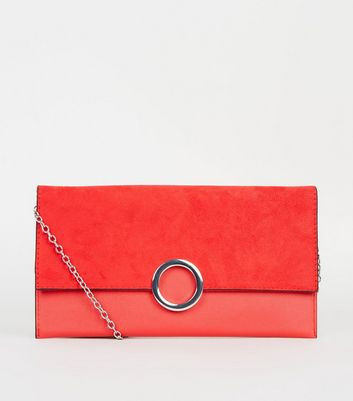 Red Leather-Look Ring Front Clutch