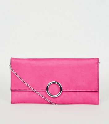 Clutch in Wildleder-Optik mit Zierring in Neonrosa