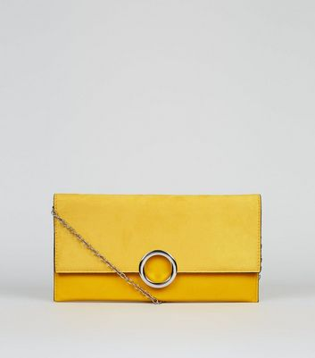 Yellow Leather-Look Ring Front Clutch