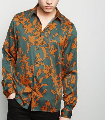 Rust Floral Satin Long Sleeve Shirt