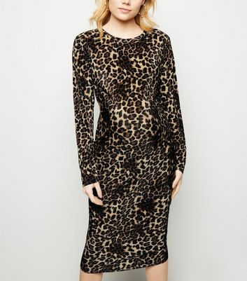 Maternity Brown Leopard Print Plissé Midi Dress