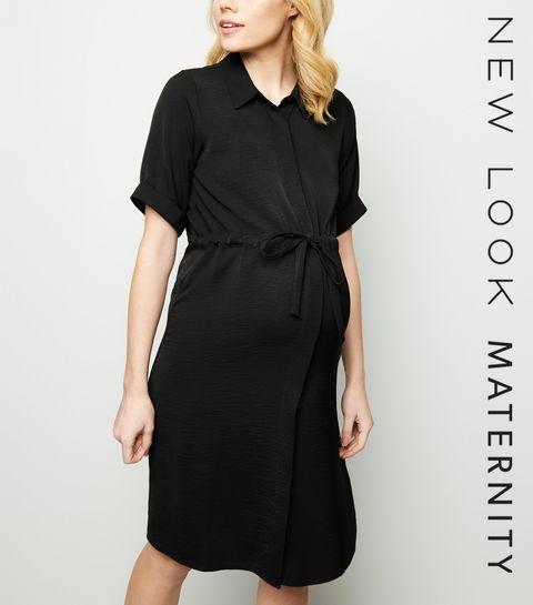 183346c4df3 ... Maternity Black Twill Nursing Shirt Dress ...