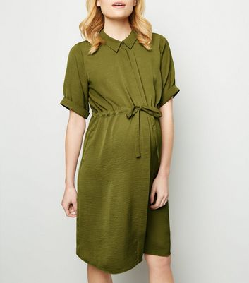 Maternity Khaki Twill Nursing Shirt Dress
