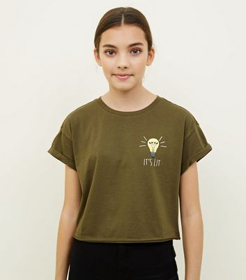 Girls Khaki It's Lit Light Bulb Slogan T-Shirt