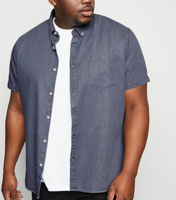 Plus Size Grey Denim Short Sleeve Shirt
