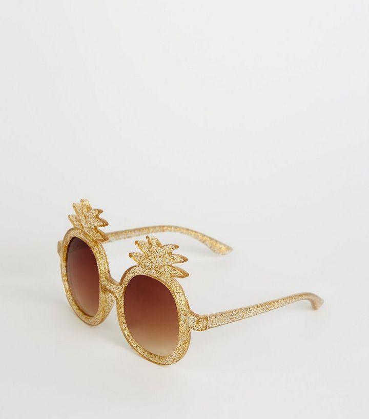 05e72510d95 Girls Gold Glitter Pineapple Sunglasses