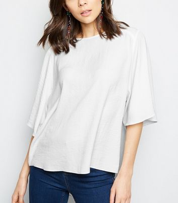 Off White Flutter Sleeve Blouse