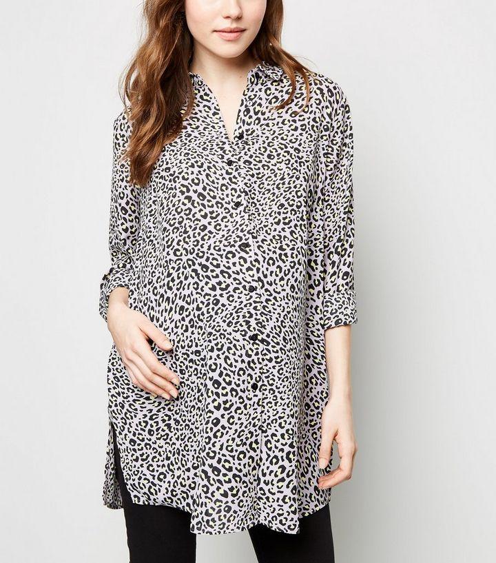 7b4397a5800d Maternity Lilac Leopard Print Shirt   New Look