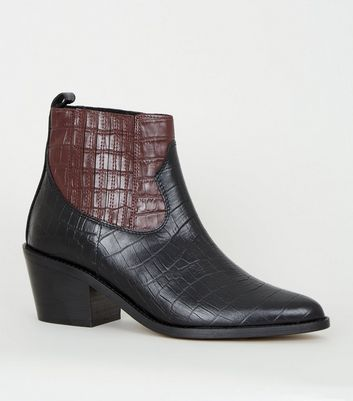 Black Premium Leather Faux Croc Western Boots