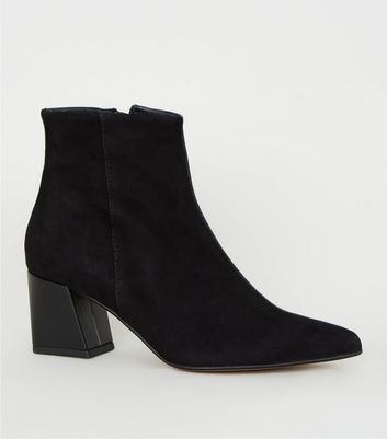 Black Premium Leather Pointed Ankle Boots